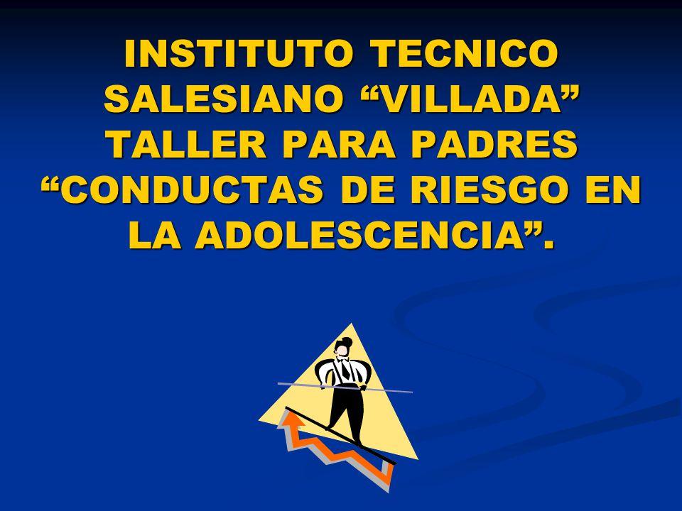 INSTITUTO TECNICO SALESIANO VILLADA TALLER PARA PADRES CONDUCTAS DE RIESGO EN LA ADOLESCENCIA .
