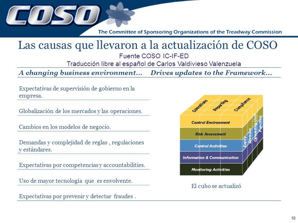 Las causas que llevaron a la actualización de COSO