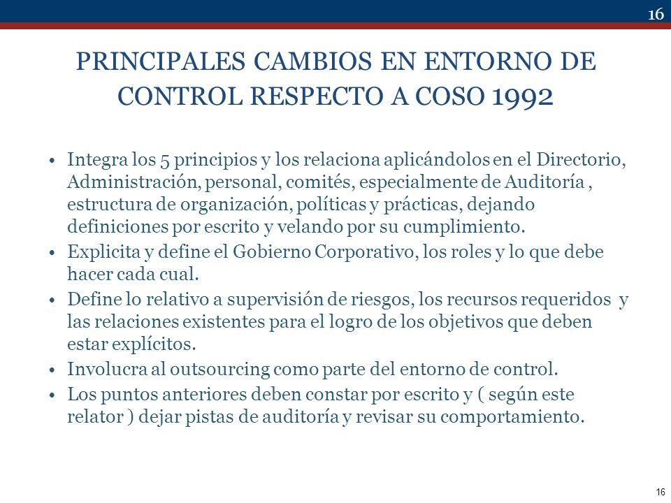 PRINCIPALES CAMBIOS EN ENTORNO DE CONTROL RESPECTO A COSO 1992