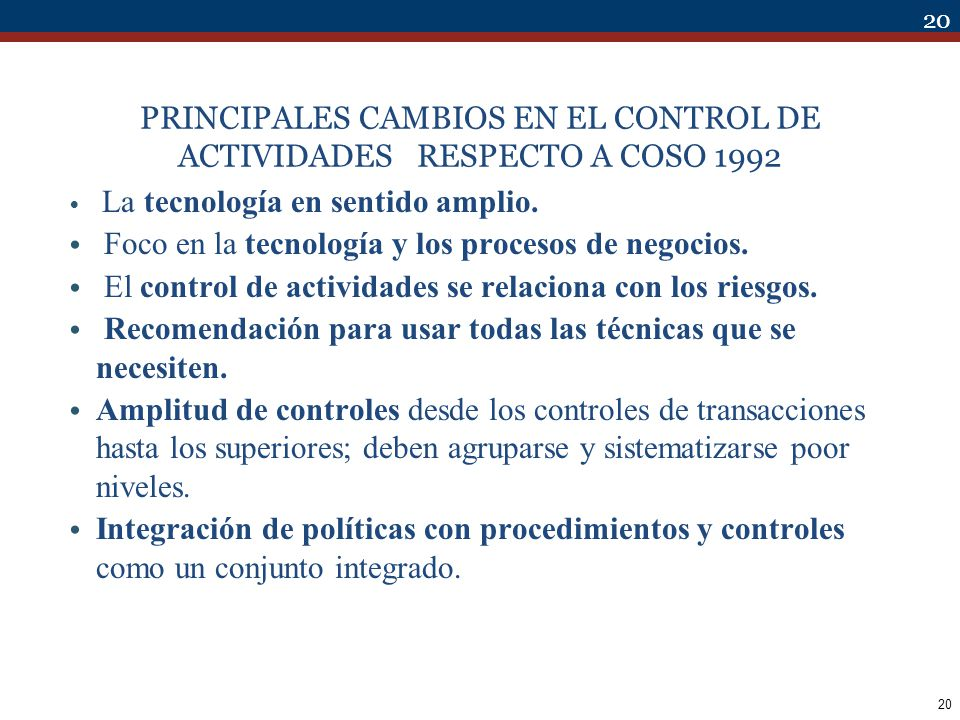 PRINCIPALES CAMBIOS EN EL CONTROL DE ACTIVIDADES RESPECTO A COSO 1992