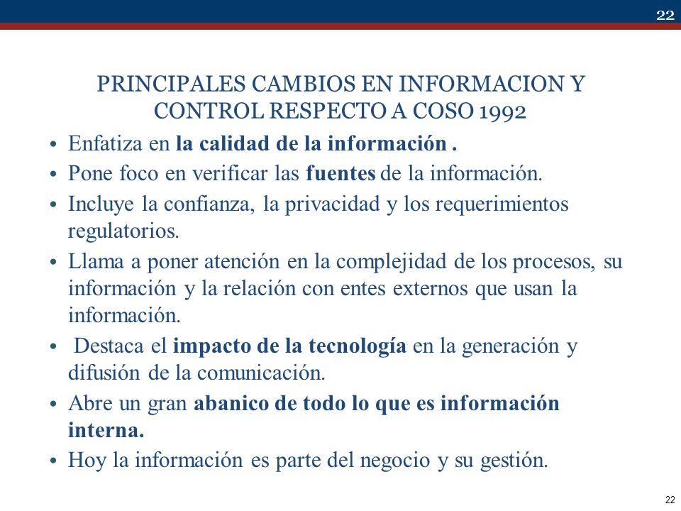 PRINCIPALES CAMBIOS EN INFORMACION Y CONTROL RESPECTO A COSO 1992