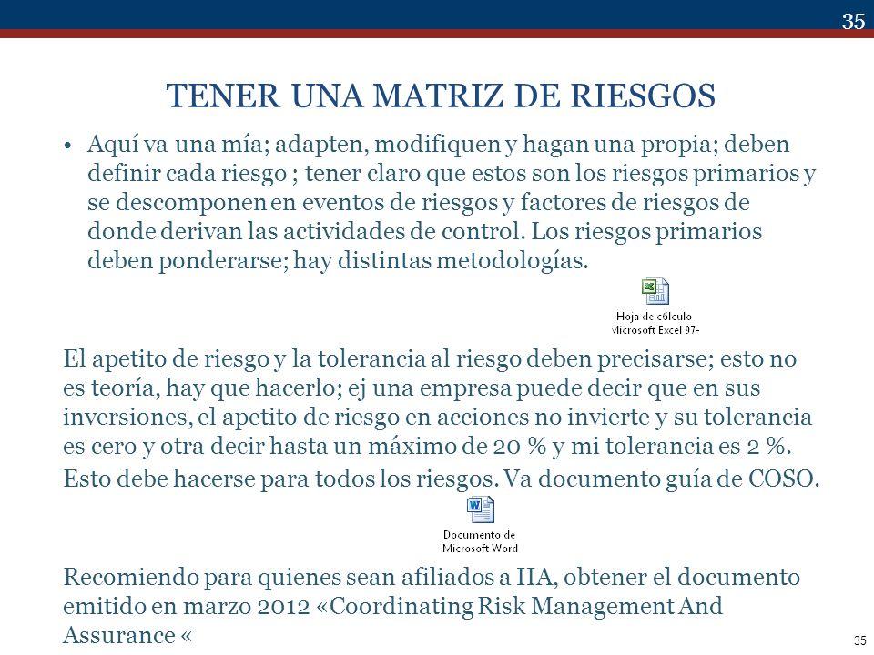 TENER UNA MATRIZ DE RIESGOS