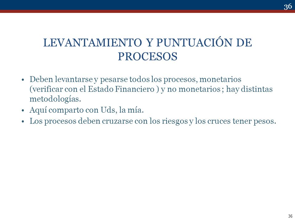 LEVANTAMIENTO Y PUNTUACIÓN DE PROCESOS