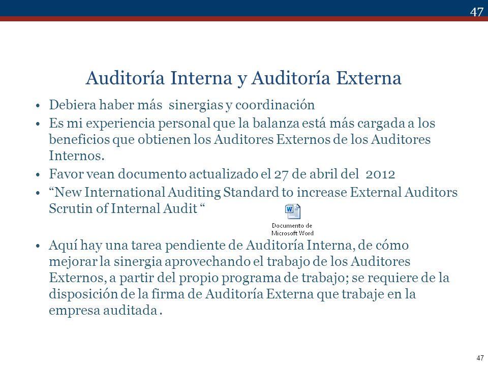 Auditoría Interna y Auditoría Externa