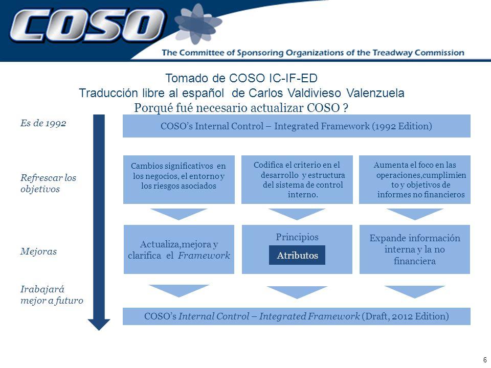 Porqué fué necesario actualizar COSO