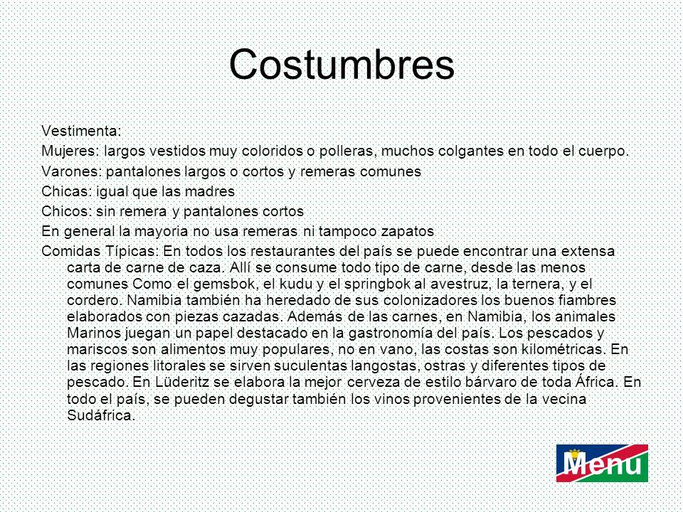 Costumbres Menu Vestimenta: