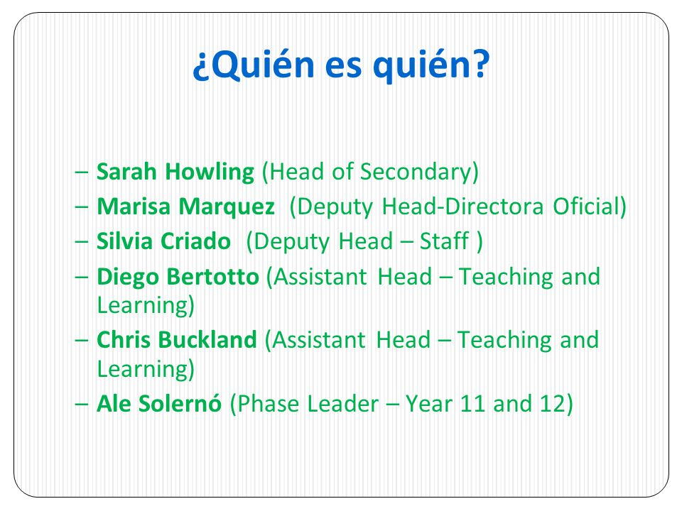¿Quién es quién Sarah Howling (Head of Secondary)