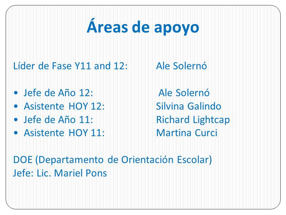 Áreas de apoyo Líder de Fase Y11 and 12: Ale Solernó
