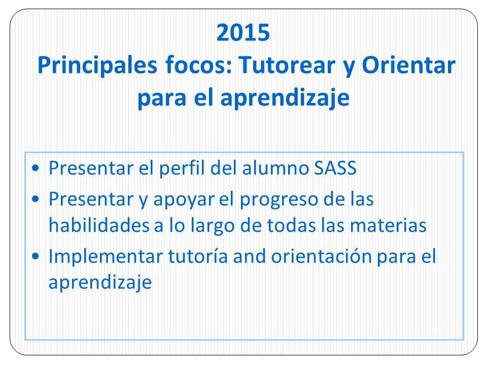 2015 Principales focos: Tutorear y Orientar para el aprendizaje