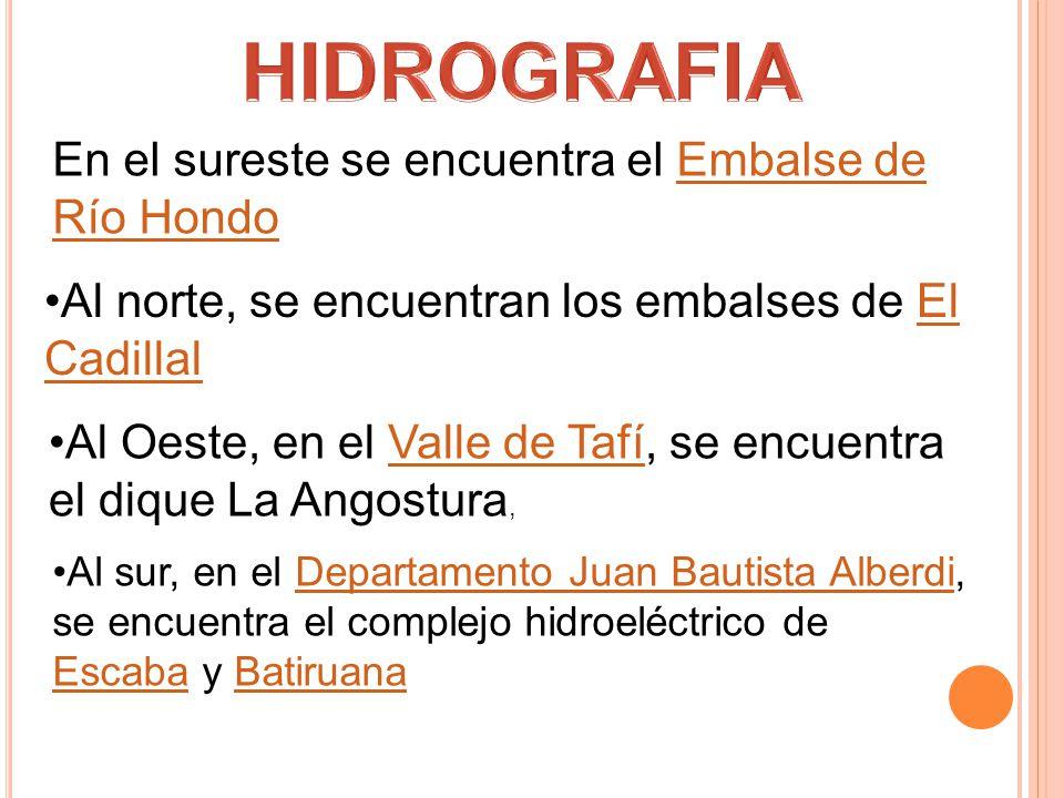HIDROGRAFIA En el sureste se encuentra el Embalse de Río Hondo