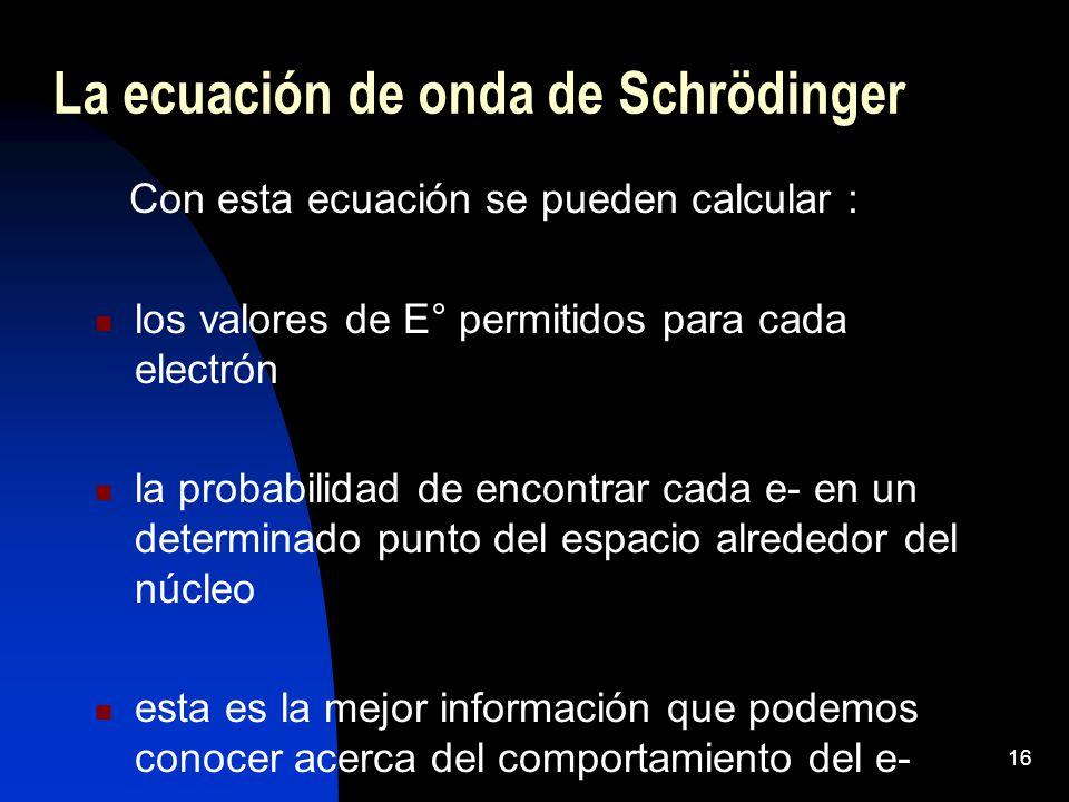 La ecuación de onda de Schrödinger