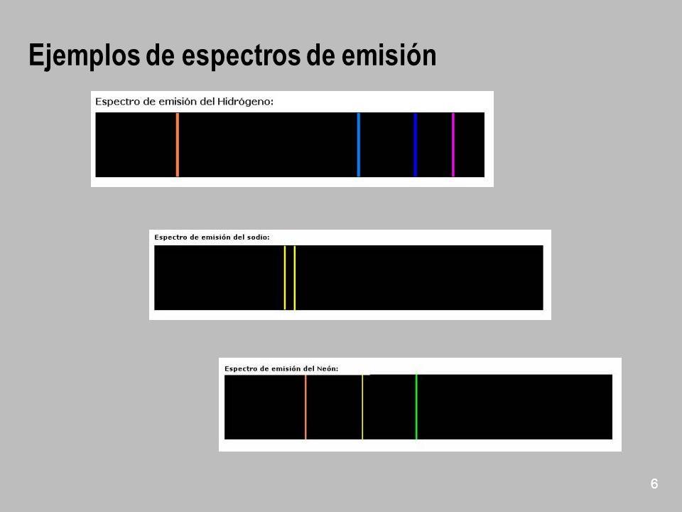 Ejemplos de espectros de emisión