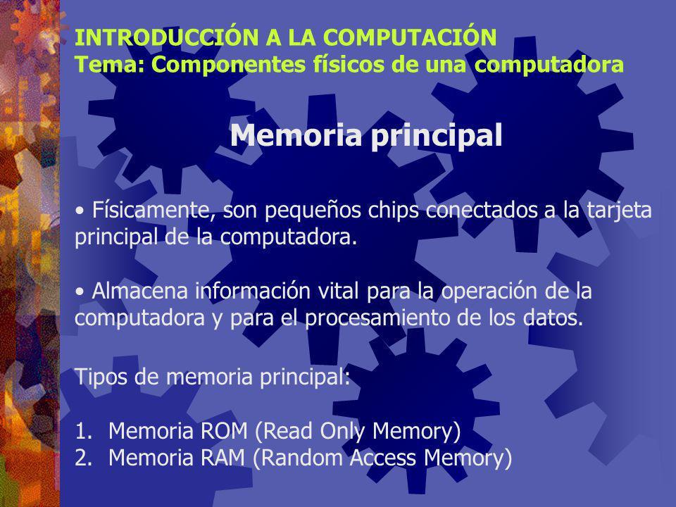 Memoria principal INTRODUCCIÓN A LA COMPUTACIÓN