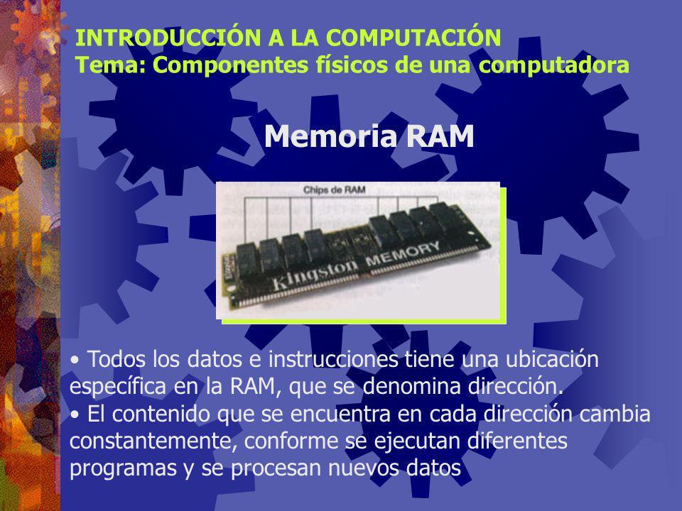 Memoria RAM INTRODUCCIÓN A LA COMPUTACIÓN