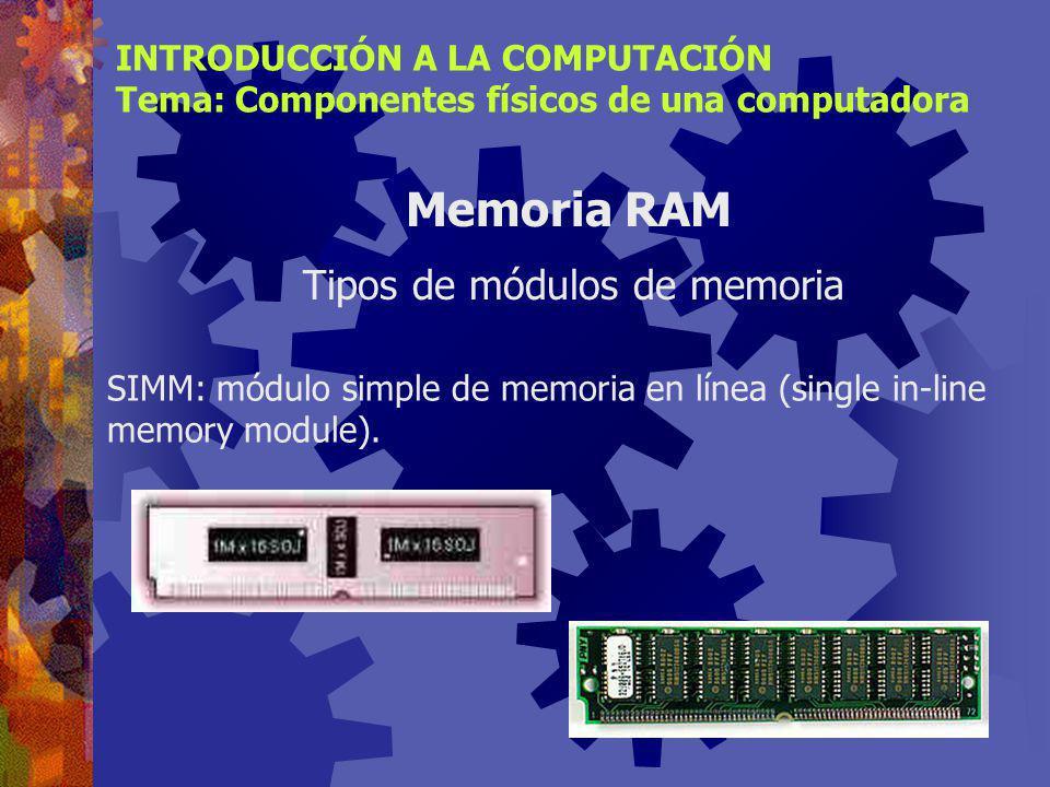 Tipos de módulos de memoria