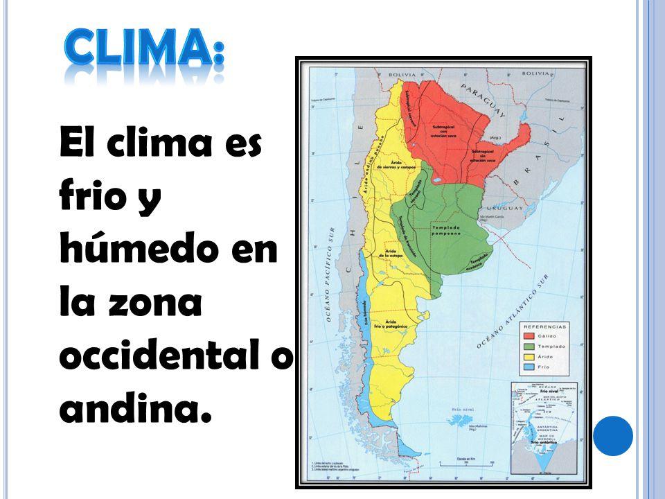 Clima: El clima es frio y húmedo en la zona occidental o andina.