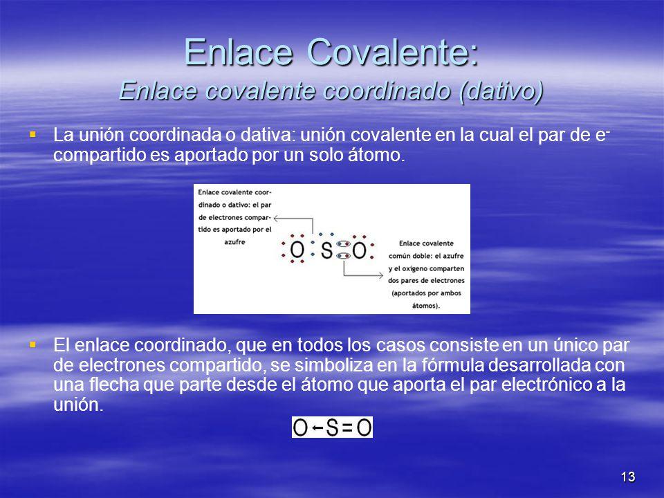 Enlace Covalente: Enlace covalente coordinado (dativo)