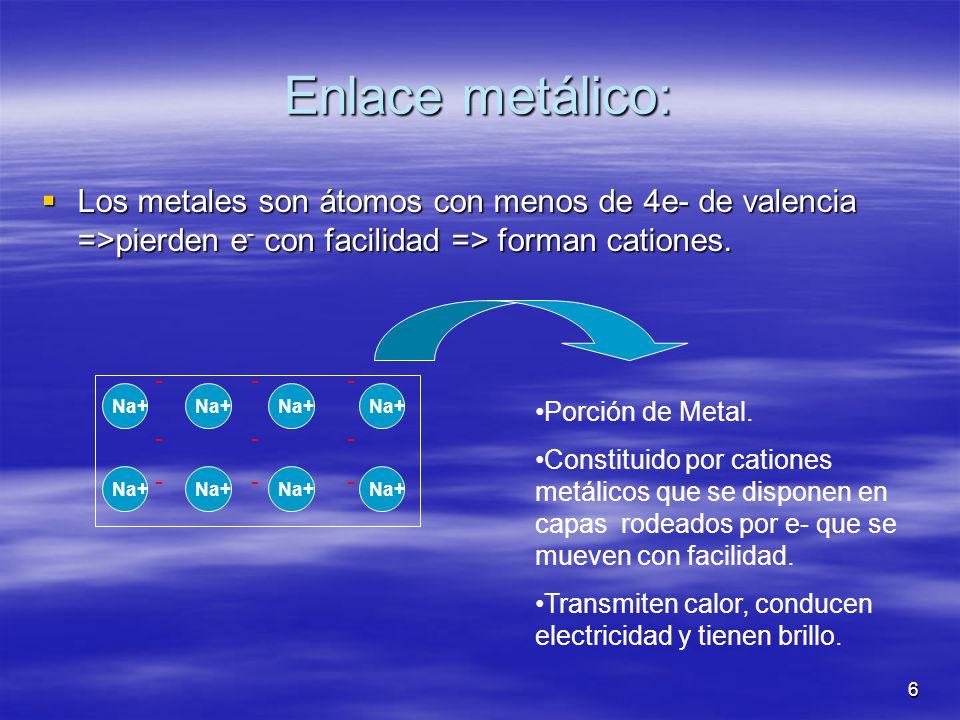 Enlace metálico: Los metales son átomos con menos de 4e- de valencia =>pierden e- con facilidad => forman cationes.