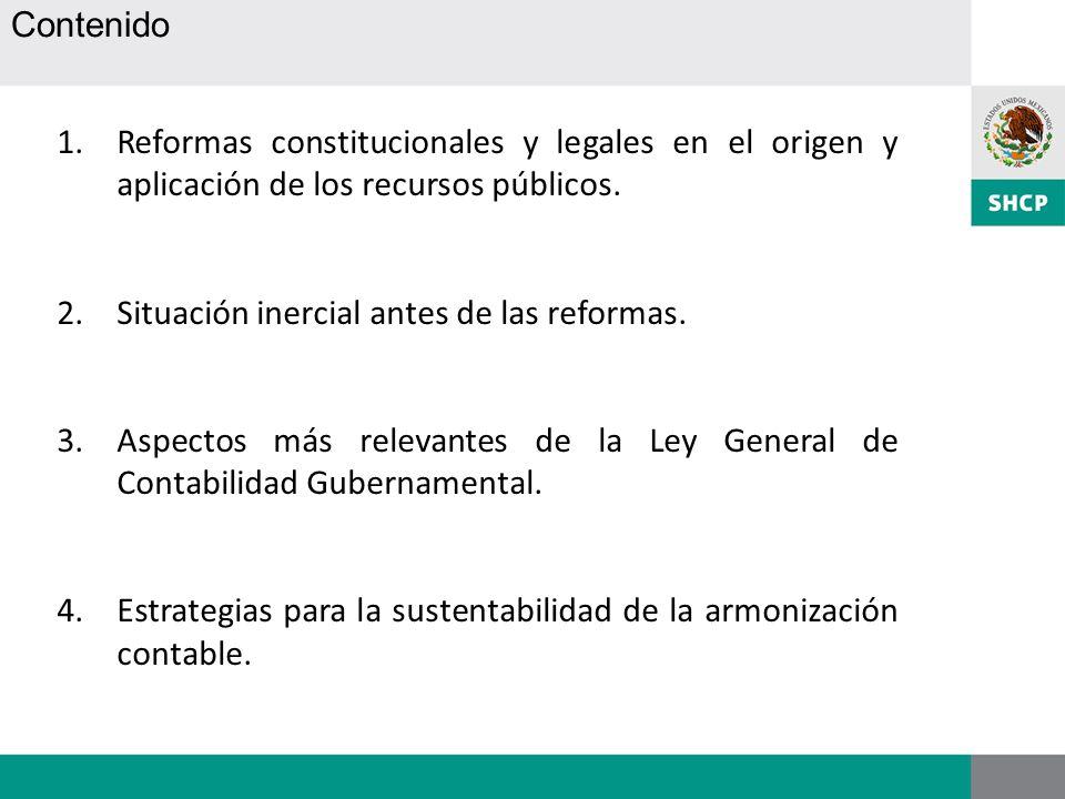 Contenido Reformas constitucionales y legales en el origen y aplicación de los recursos públicos. Situación inercial antes de las reformas.