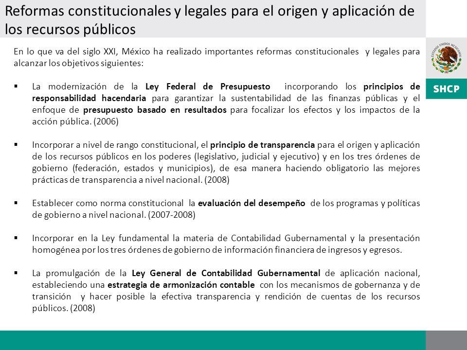 Reformas constitucionales y legales para el origen y aplicación de los recursos públicos