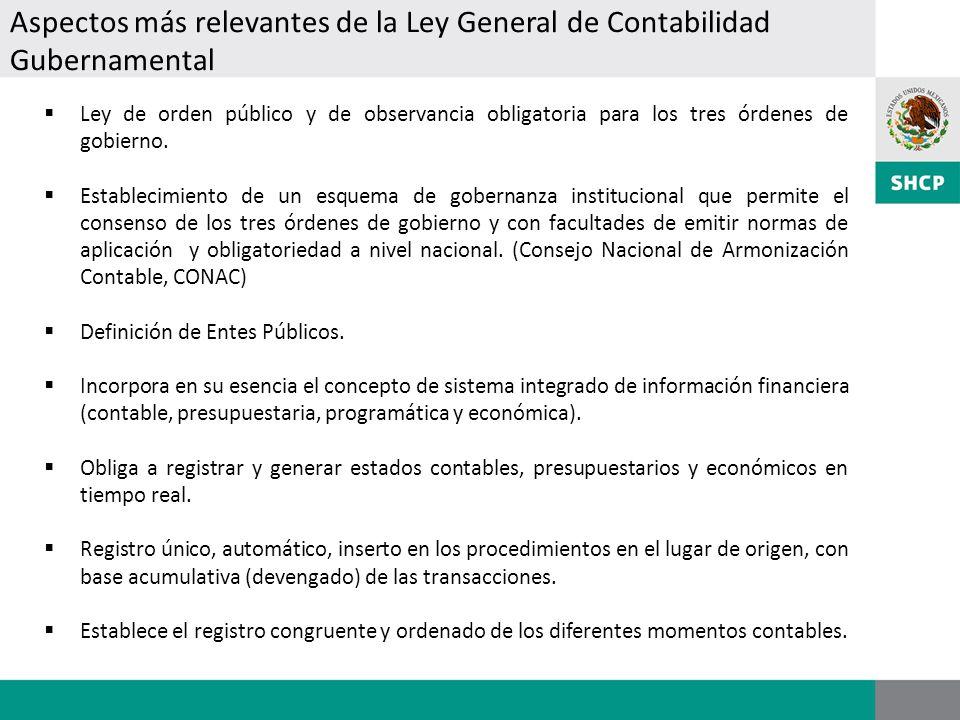 Aspectos más relevantes de la Ley General de Contabilidad Gubernamental