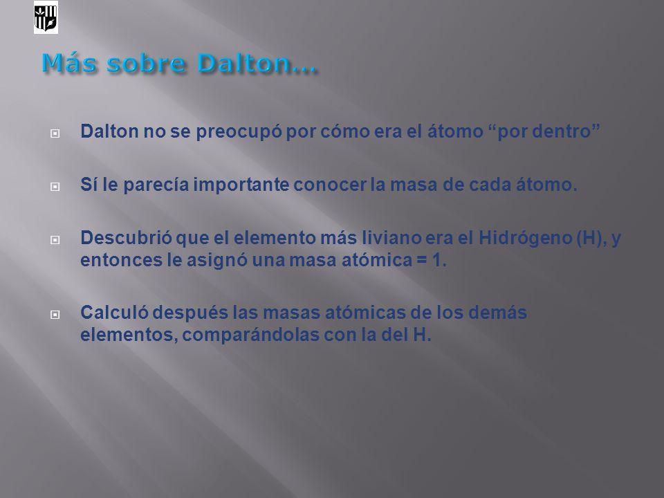 Más sobre Dalton… Dalton no se preocupó por cómo era el átomo por dentro Sí le parecía importante conocer la masa de cada átomo.