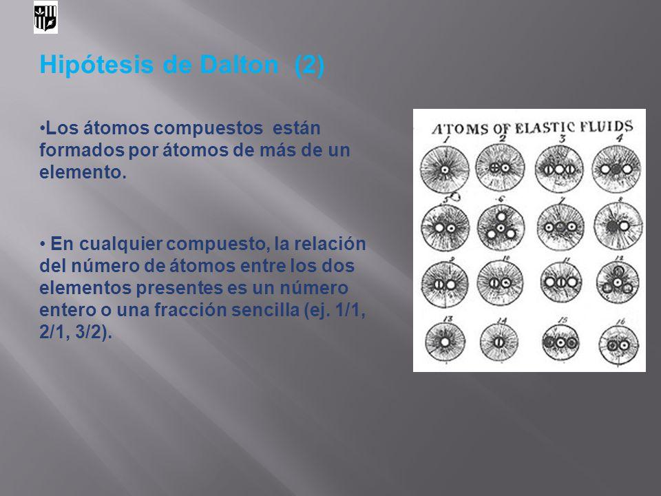 Hipótesis de Dalton (2) Los átomos compuestos están formados por átomos de más de un elemento.