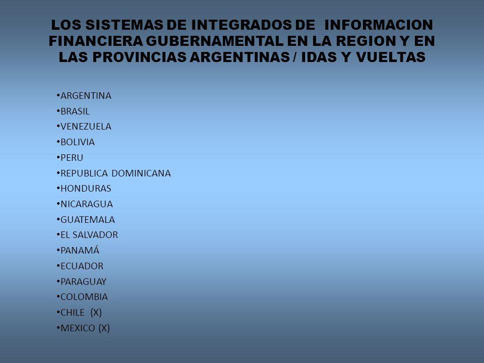 LOS SISTEMAS DE INTEGRADOS DE INFORMACION FINANCIERA GUBERNAMENTAL EN LA REGION Y EN LAS PROVINCIAS ARGENTINAS / IDAS Y VUELTAS