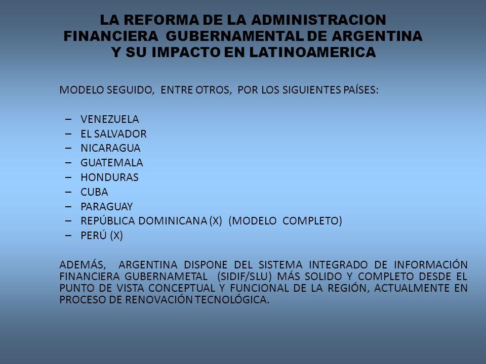 LA REFORMA DE LA ADMINISTRACION FINANCIERA GUBERNAMENTAL DE ARGENTINA Y SU IMPACTO EN LATINOAMERICA