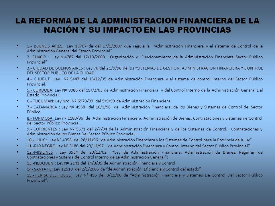 LA REFORMA DE LA ADMINISTRACION FINANCIERA DE LA NACIÓN Y SU IMPACTO EN LAS PROVINCIAS
