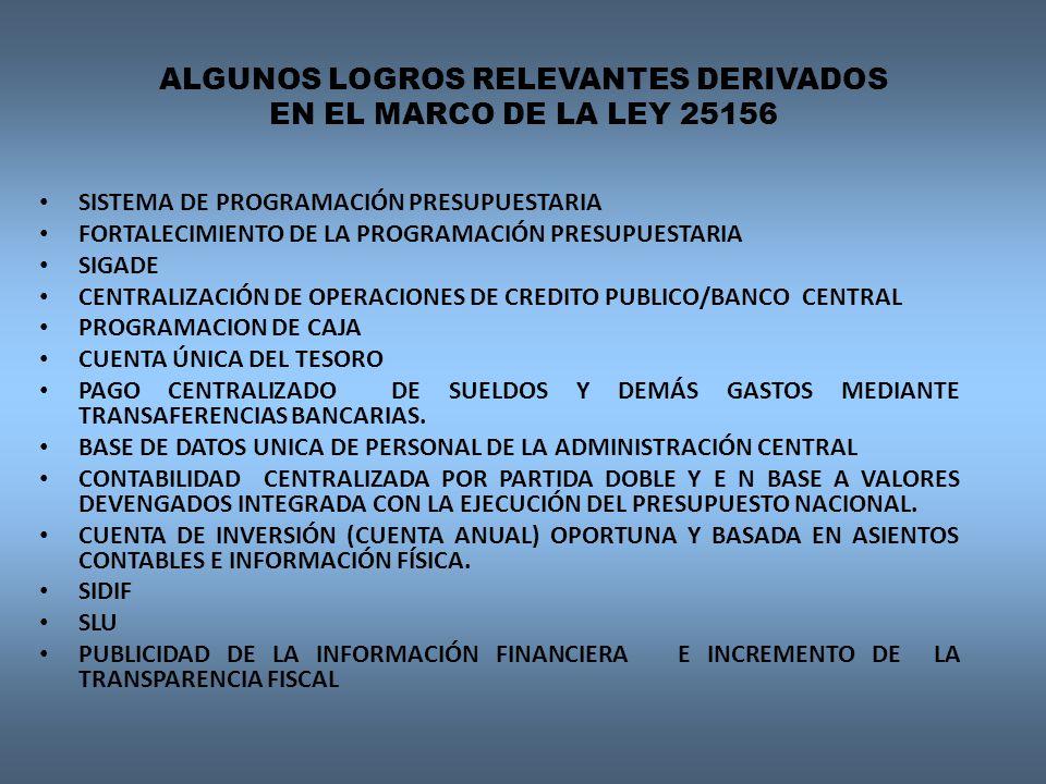 ALGUNOS LOGROS RELEVANTES DERIVADOS EN EL MARCO DE LA LEY 25156