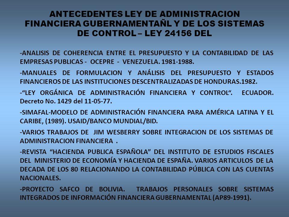 ANTECEDENTES LEY DE ADMINISTRACION FINANCIERA GUBERNAMENTAÑL Y DE LOS SISTEMAS DE CONTROL – LEY 24156 DEL