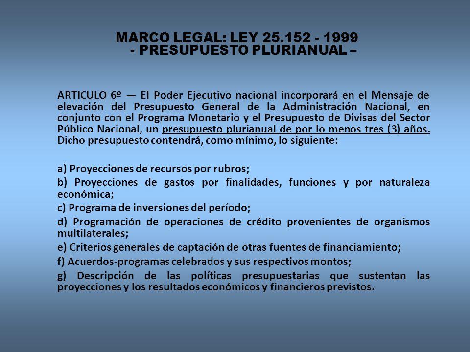 MARCO LEGAL: LEY 25.152 - 1999 - PRESUPUESTO PLURIANUAL –