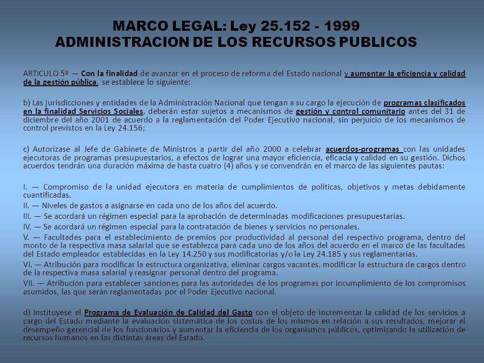 MARCO LEGAL: Ley 25.152 - 1999 ADMINISTRACION DE LOS RECURSOS PUBLICOS