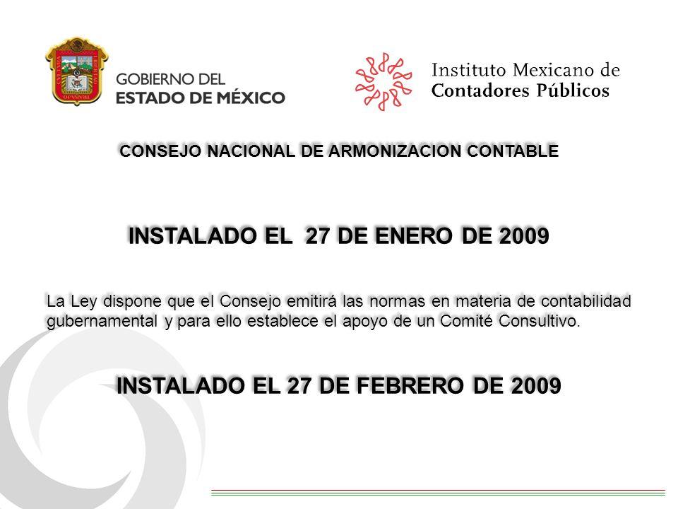 INSTALADO EL 27 DE ENERO DE 2009 INSTALADO EL 27 DE FEBRERO DE 2009