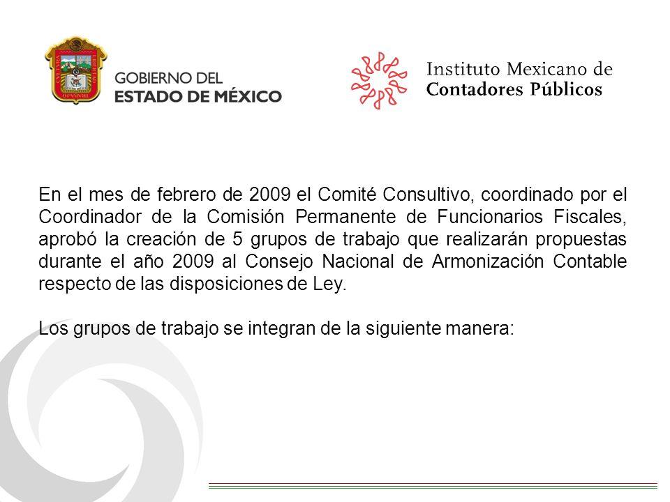 En el mes de febrero de 2009 el Comité Consultivo, coordinado por el Coordinador de la Comisión Permanente de Funcionarios Fiscales, aprobó la creación de 5 grupos de trabajo que realizarán propuestas durante el año 2009 al Consejo Nacional de Armonización Contable respecto de las disposiciones de Ley.
