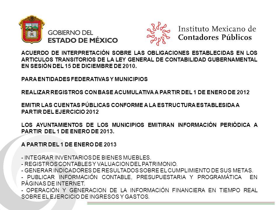 ACUERDO DE INTERPRETACIÓN SOBRE LAS OBLIGACIONES ESTABLECIDAS EN LOS ARTICULOS TRANSITORIOS DE LA LEY GENERAL DE CONTABILIDAD GUBERNAMENTAL EN SESIÓN DEL 15 DE DICIEMBRE DE 2010.