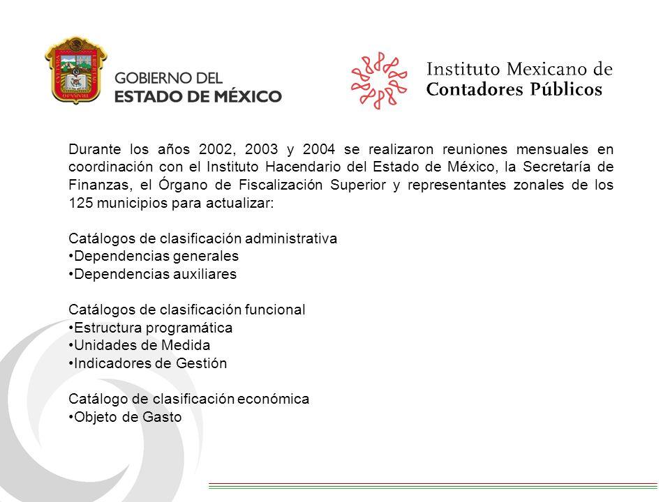 Durante los años 2002, 2003 y 2004 se realizaron reuniones mensuales en coordinación con el Instituto Hacendario del Estado de México, la Secretaría de Finanzas, el Órgano de Fiscalización Superior y representantes zonales de los 125 municipios para actualizar: