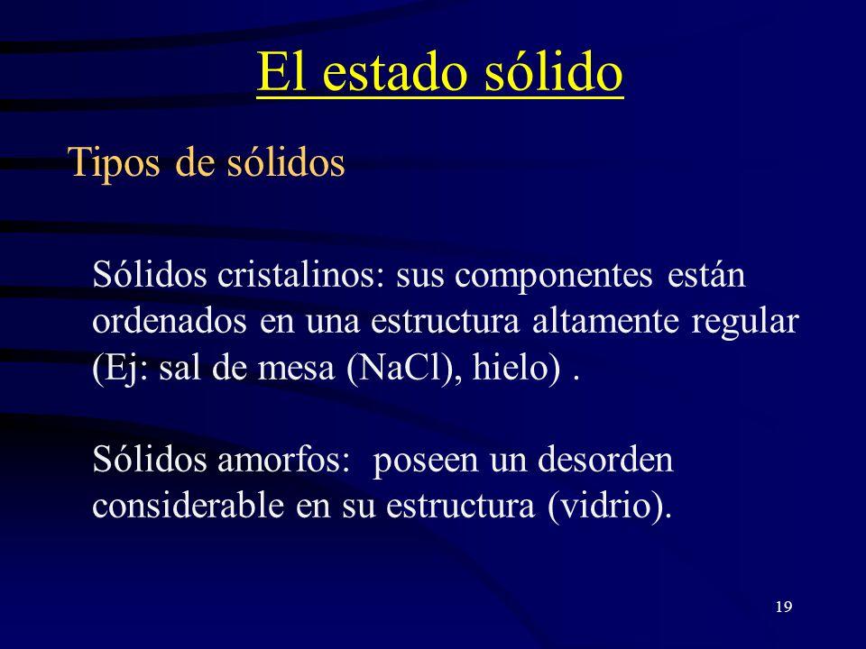 El estado sólido Tipos de sólidos