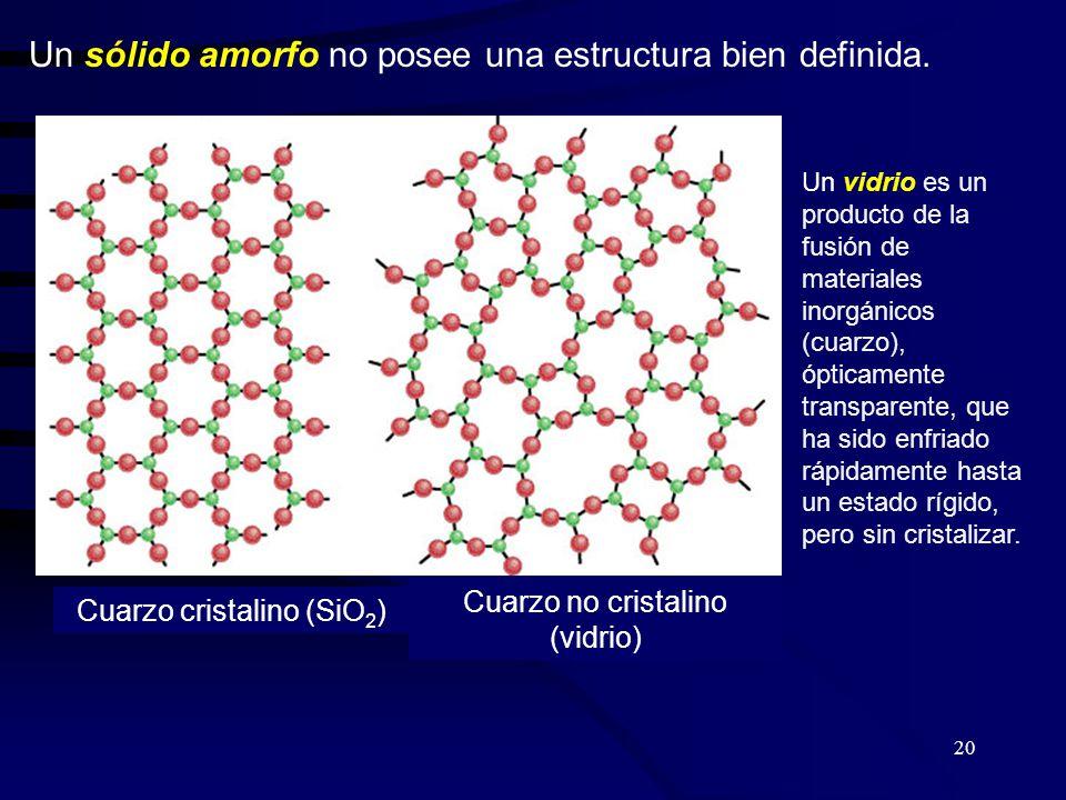 Un sólido amorfo no posee una estructura bien definida.
