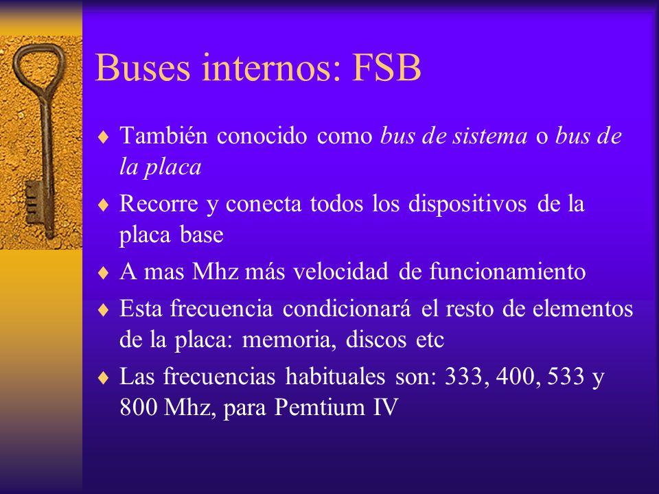 Buses internos: FSB También conocido como bus de sistema o bus de la placa. Recorre y conecta todos los dispositivos de la placa base.