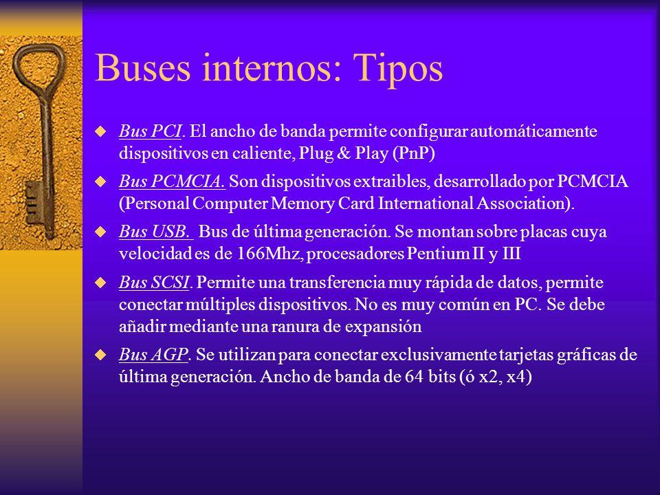 Buses internos: Tipos Bus PCI. El ancho de banda permite configurar automáticamente dispositivos en caliente, Plug & Play (PnP)