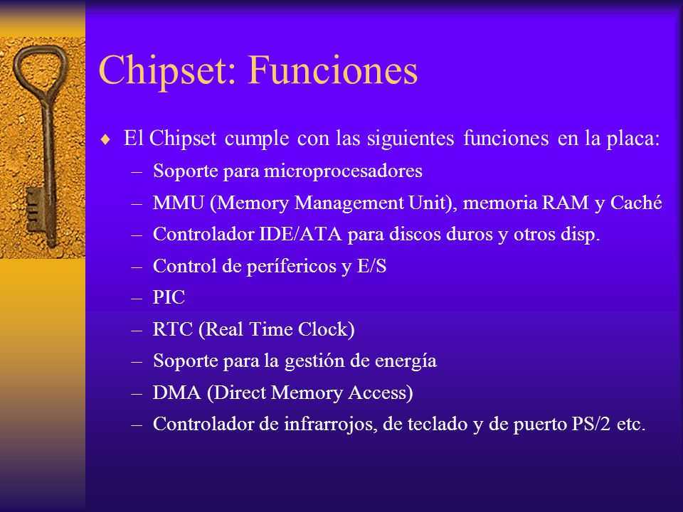 Chipset: Funciones El Chipset cumple con las siguientes funciones en la placa: Soporte para microprocesadores.