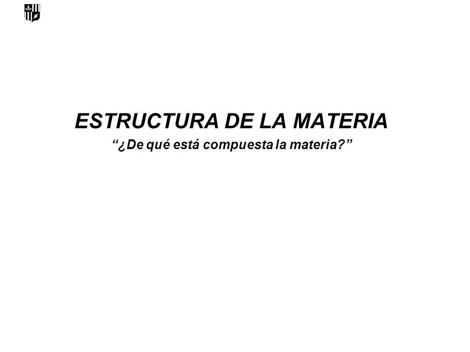 ESTRUCTURA DE LA MATERIA ¿De qué está compuesta la materia
