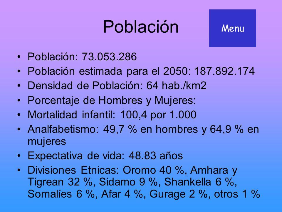 Población Menu. Población: 73.053.286. Población estimada para el 2050: 187.892.174. Densidad de Población: 64 hab./km2.