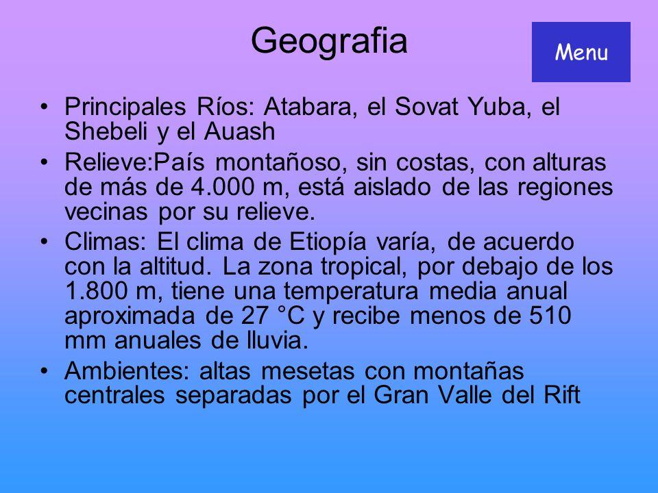 Geografia Menu. Principales Ríos: Atabara, el Sovat Yuba, el Shebeli y el Auash.