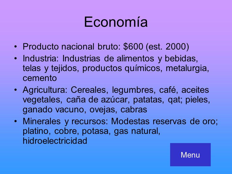 Economía Producto nacional bruto: $600 (est. 2000)