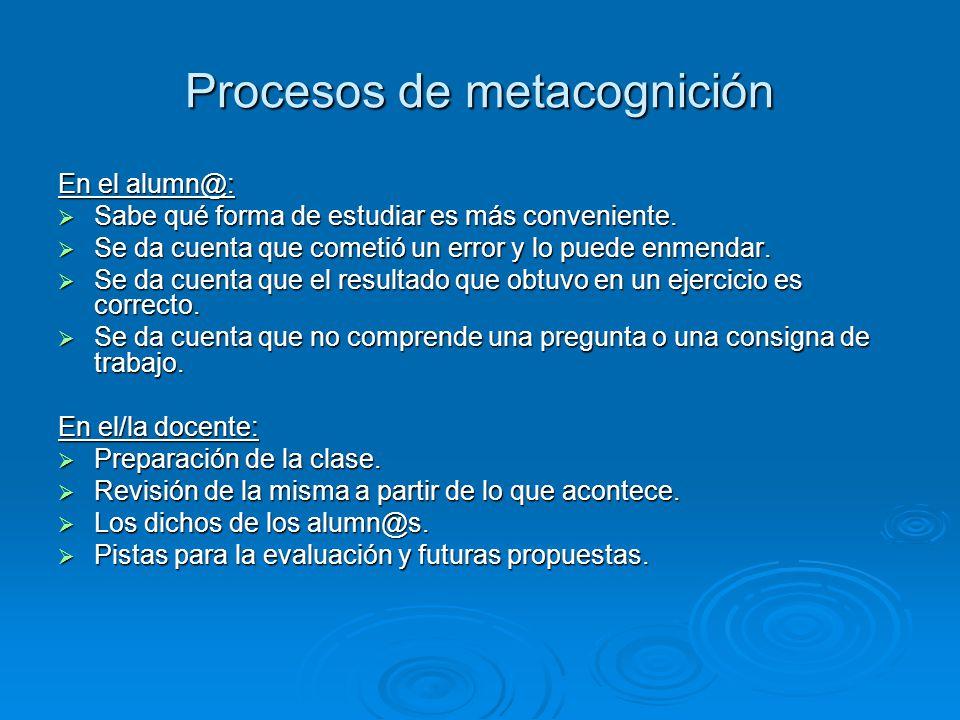 Procesos de metacognición