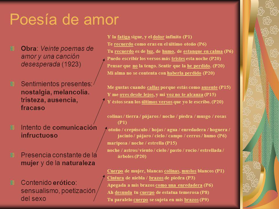 Poesía de amor Y la fatiga sigue, y el dolor infinito (P1) Te recuerdo como eras en el último otoño (P6)