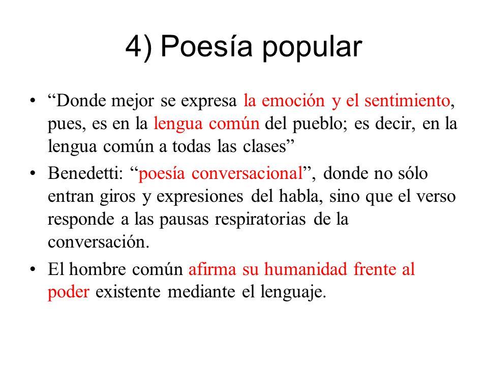 4) Poesía popular